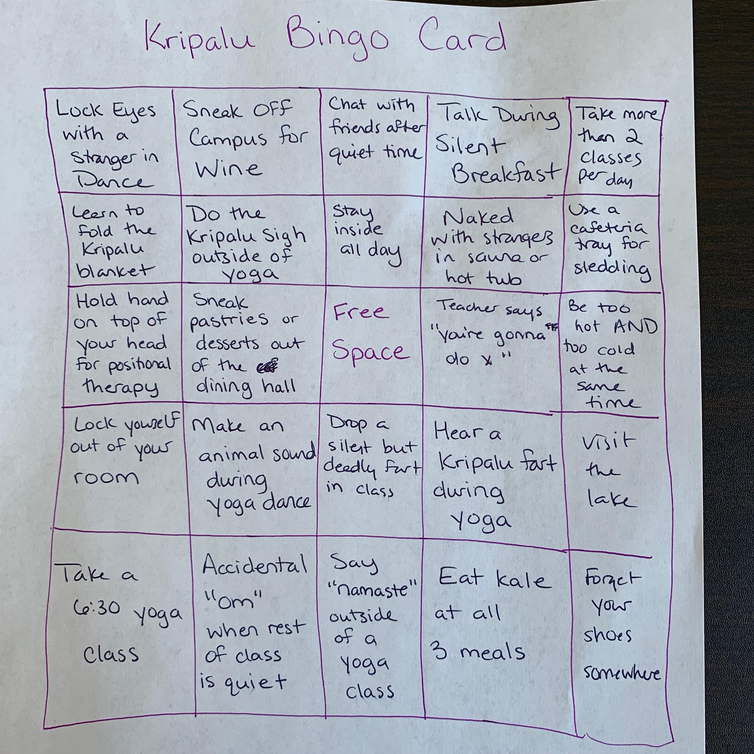 Kripalu bingo card