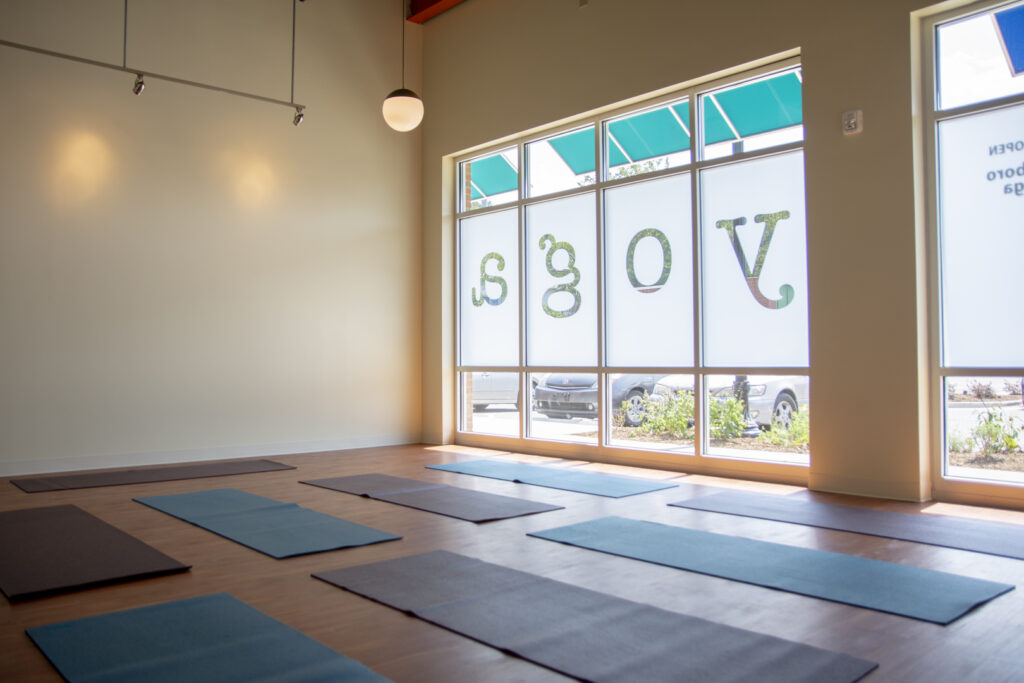 Empty yoga room ready for students
