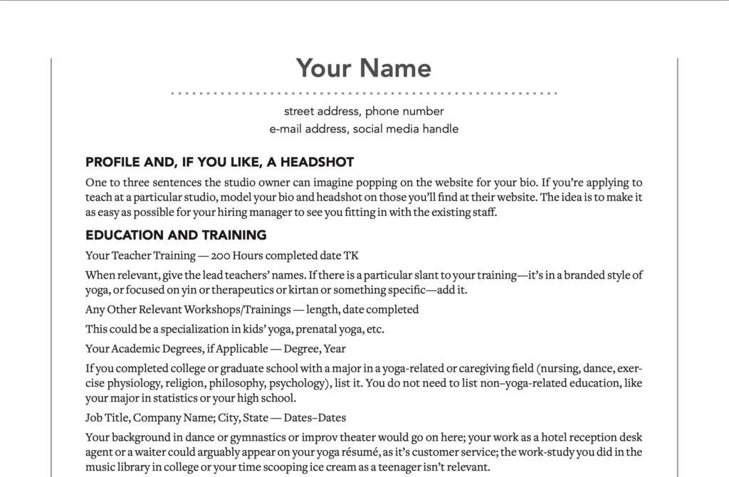 snippet of a sample resume